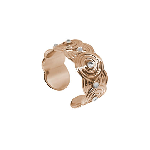 Band Ring Gold plated pink with concentric decorations and Swarovski