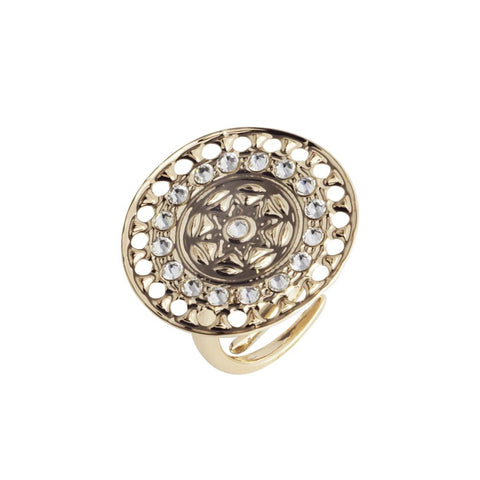 Plated ring yellow gold with circular base from Etruscan processing and Swarovski
