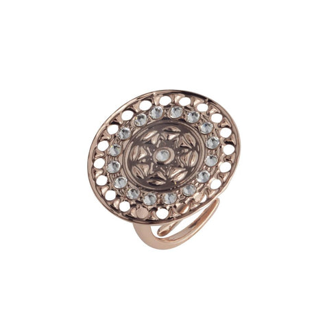 Plated ring pink gold with circular base from Etruscan processing and Swarovski