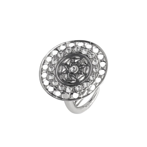 Related product : Ring with circular base from Etruscan processing and Swarovski