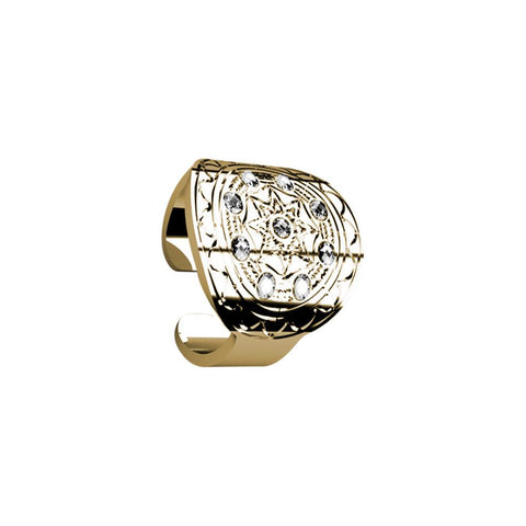 Plated ring yellow gold with a flat base from Etruscan processing and Swarovski