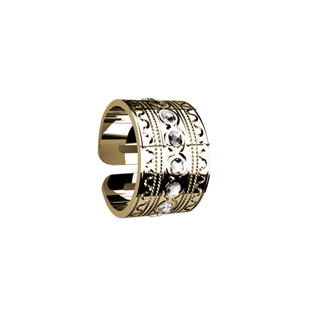 Band Ring Gold Plated yellow with Etruscan processing and Swarovski