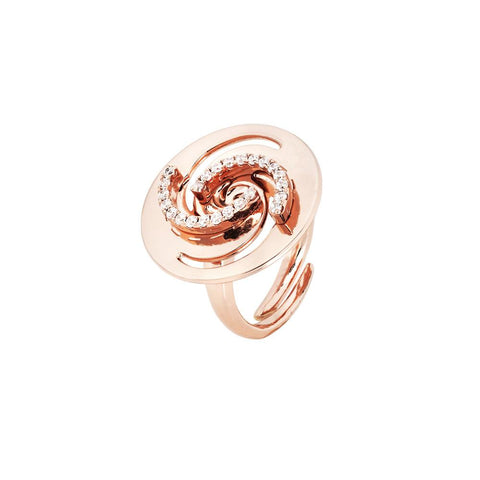 Related product : Plated ring pink gold with decoration vortex and zircons