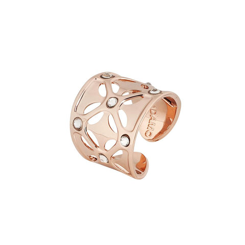 Plated ring pink gold with wide band with Swarovski crystal