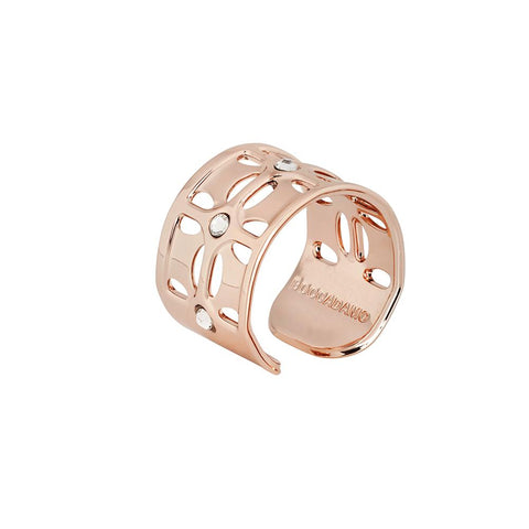 Ring Gold plated pink band with Swarovski crystal