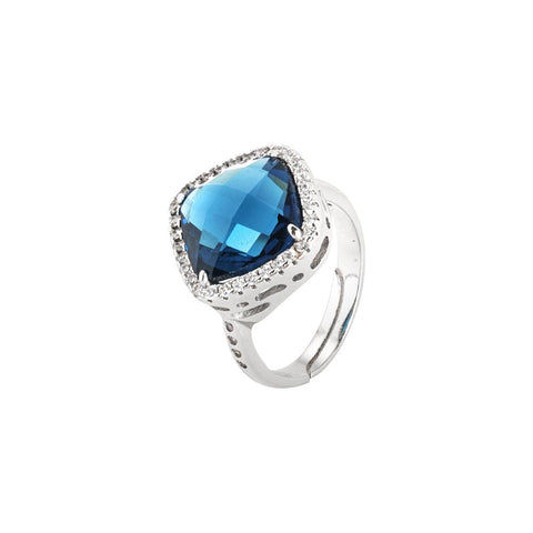 Related product : Ring with briolette crystal blue montana and zircons