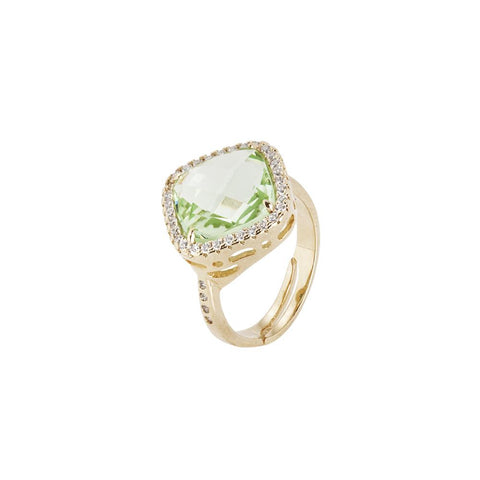 Related product : Ring with crystal chrysolite briolette and zircons
