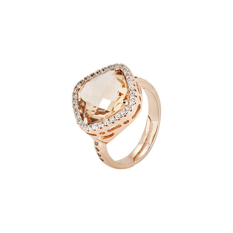 Related product : Ring with crystal briolette peach and zircons