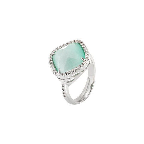Related product : Ring with crystal briolette green mint and zircons
