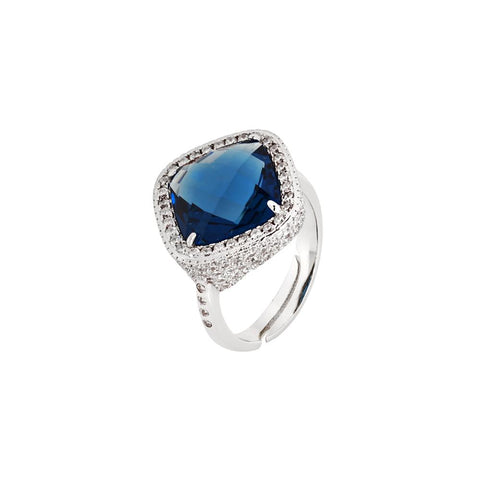 Related product : Ring with briolette crystal blue montana and pavè of zircons