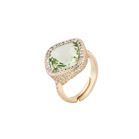 Related product : Ring with crystal chrysolite briolette and pavè of zircons