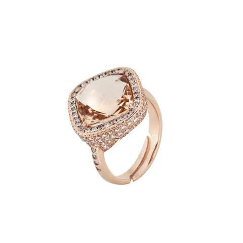 Related product : Ring with crystal briolette peach and pavè of zircons