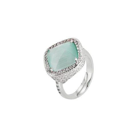 Related product : Ring with crystal briolette green mint and pavè of zircons
