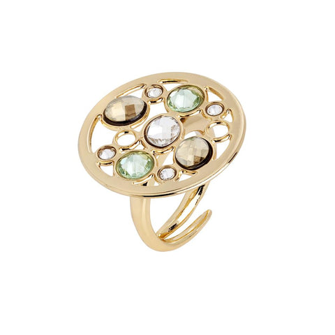 Related product : Ring circular base with Swarovski crystal, chrysolite, gold