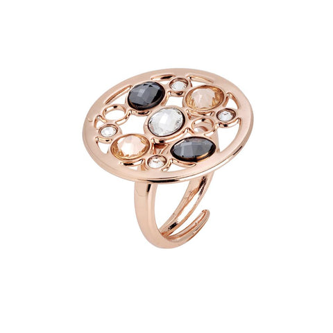 Related product : Ring circular base with Swarovski crystal, peach, silver night