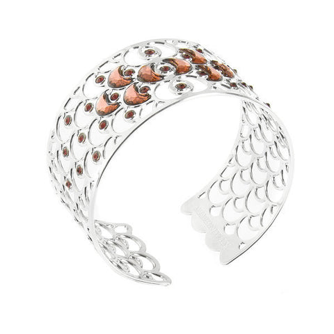Rigid bracelet with decoration scales and crystals blush roses
