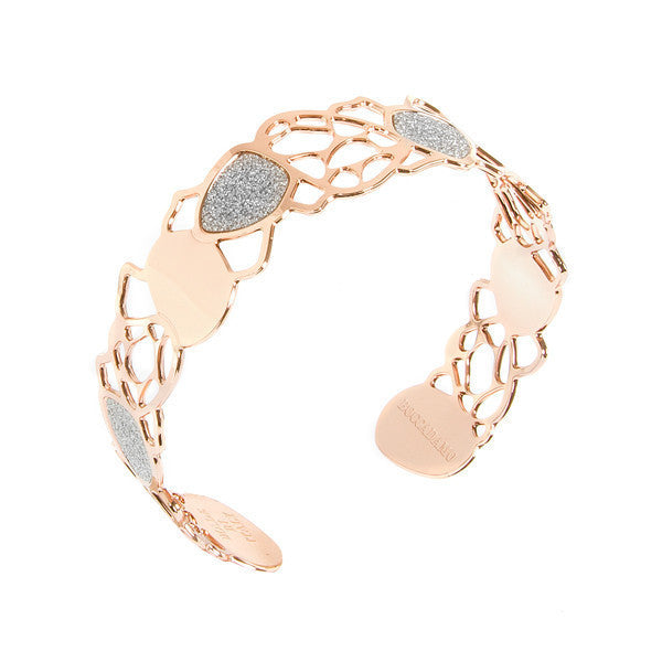 Bracelet band gold plated pink with glitter and tunnel