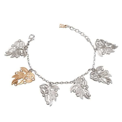 Bracelet bicolor with leaves and pendants Swarovski