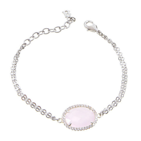 Bracelet with central briolette crystal pink and zircons