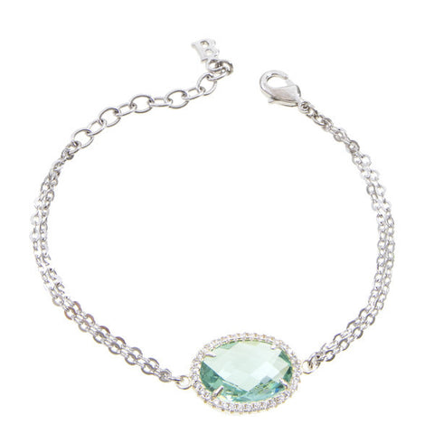 Bracelet with central briolette crystal water green and zircons