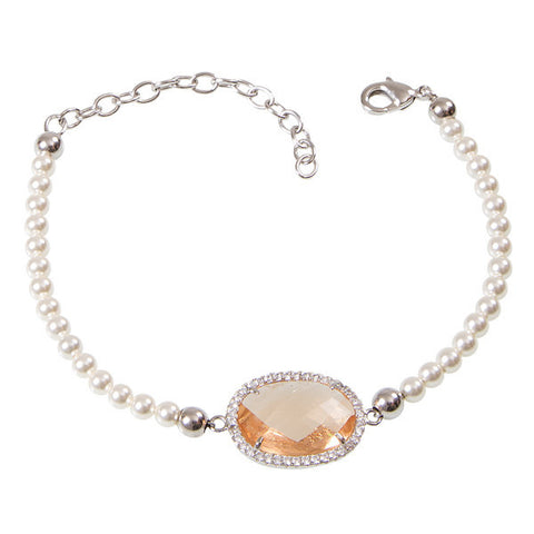 Bracelet of Beads Swarovski crystal with champagne and zircons