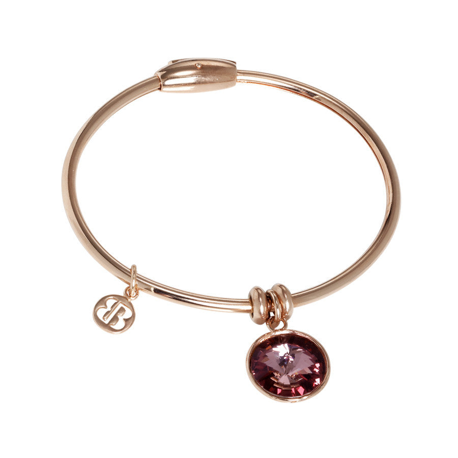 Bracelet with charm in Swarovski Crystal antique pink