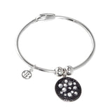 Bracelet with charm composed of galuchat mat Jet hematite