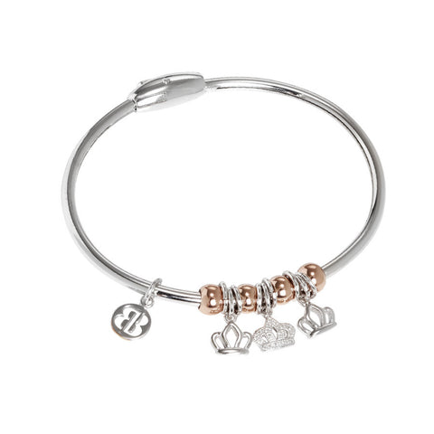 Bracelet with smooth charms and zircons in the shape of a crown