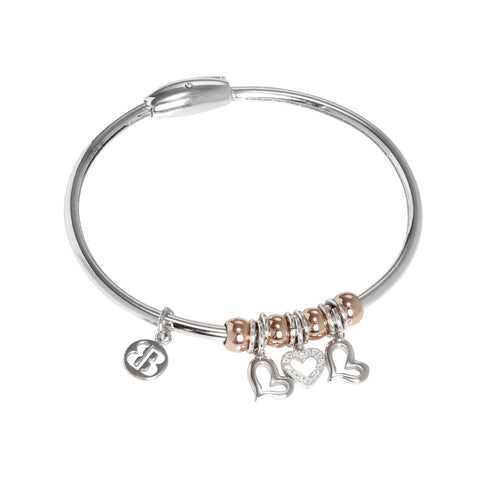 Bracelet with smooth charms and zircons in the shape of hearts