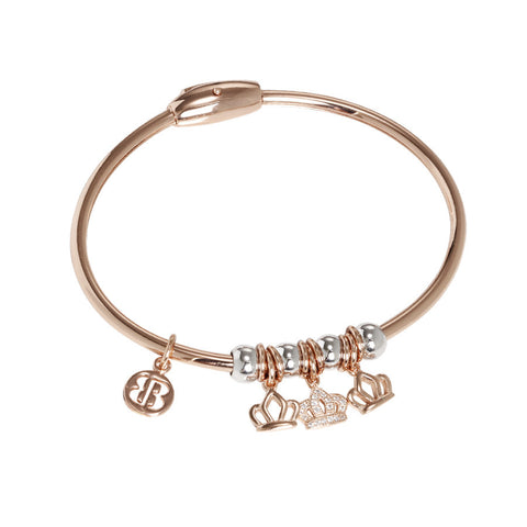 Plated Bracelet pink gold with smooth charms and zircons in the shape of a crown