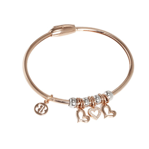 Plated Bracelet pink gold with smooth charms and zircons in the shape of hearts