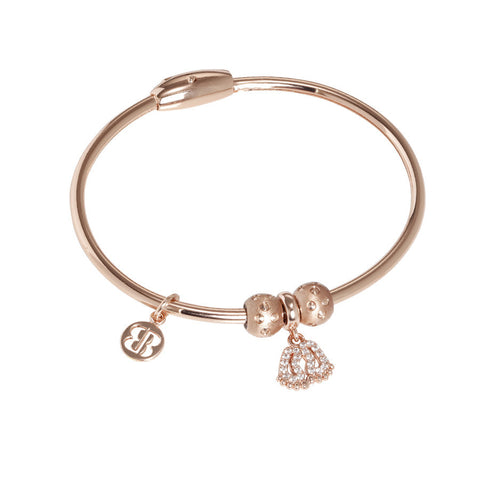 Plated Bracelet pink gold with charm in the shape of the foot in zircons