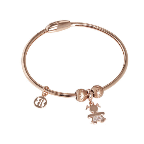 Plated Bracelet pink gold with charm in the shape of a girl in zircons