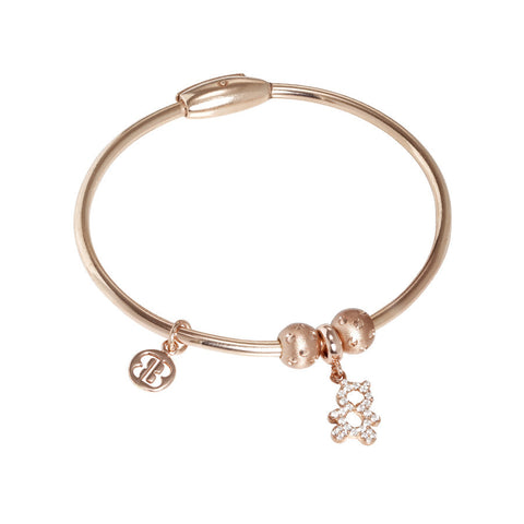 Plated Bracelet pink gold with charm in the shape of a teddy bear in zircons