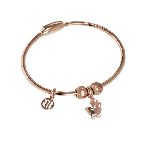 Plated Bracelet pink gold with charm in the shape of a wheelchair in zircons