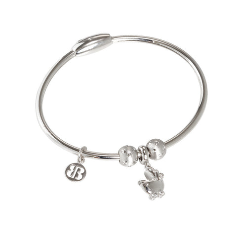 Bracelet with charm in the shape of a wheelchair in zircons