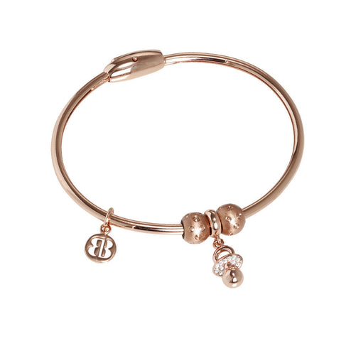 Plated Bracelet pink gold with charm in the shape of a dummy in zircons