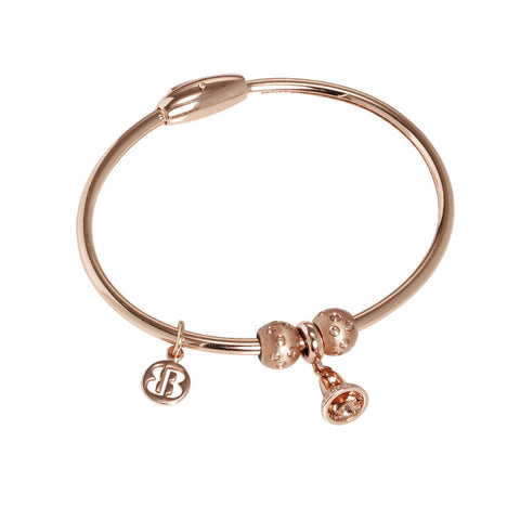 Plated Bracelet pink gold with charm in the form of a bell in zircons