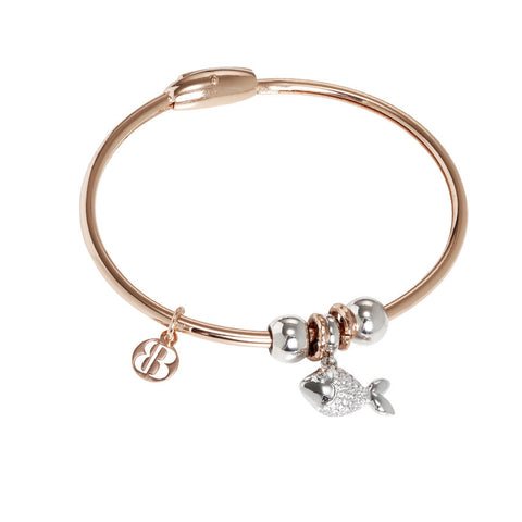 Bracelet with charm in zircons in the shape of a fish