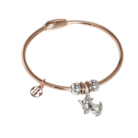 Bracelet with charm in zircons in the form of little dog
