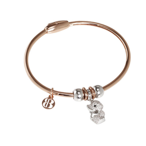 Bracelet with charm in zircons in the shape of a kitten