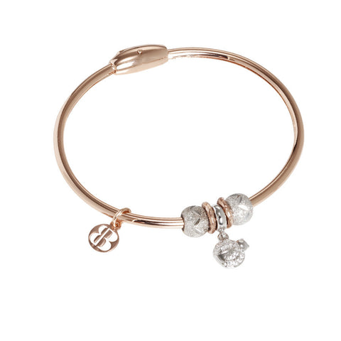 Plated Bracelet pink gold with charm in the shape of a ladybug and zircons