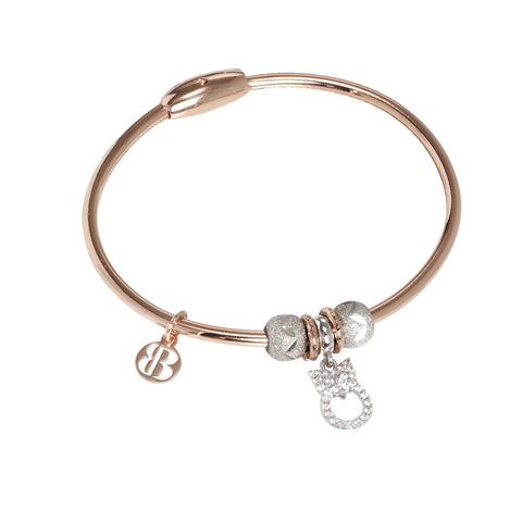 Plated Bracelet pink gold with charm in the shape of a gufetto and zircons