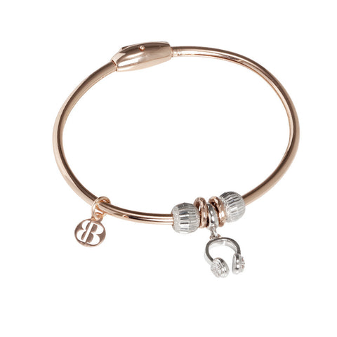 Plated Bracelet pink gold with charm in the form of headphones