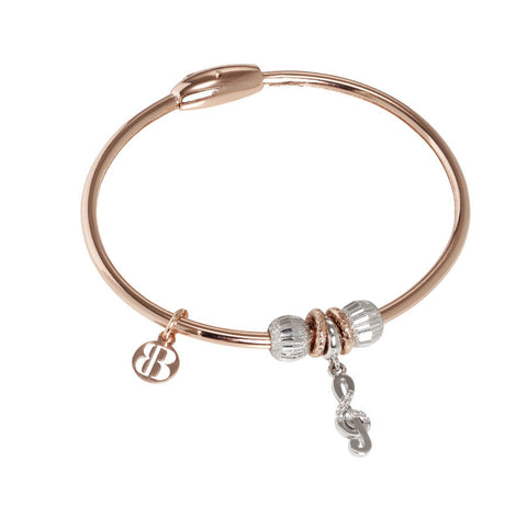 Plated Bracelet pink gold with charm in the shape of a treble clef