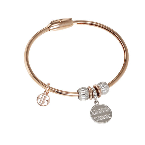 "Plated Bracelet pink gold with charm ""I Love Music"""