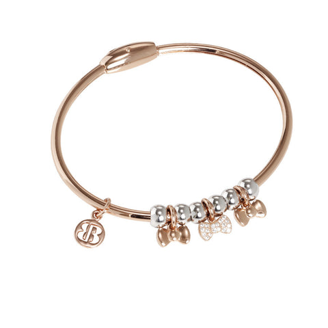 Plated Bracelet pink gold with charm in zircons in the form of flakes