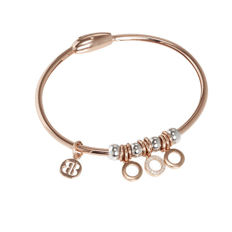 Plated Bracelet pink gold with charm in zircons in the shape of circles