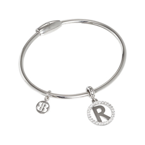 "Bracelet rodiatos with charm by the letter ""R"" and zircons"