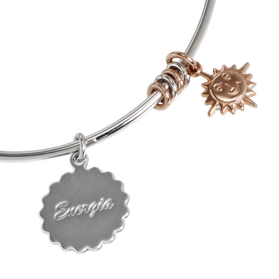 "Bracelet rodiatos with sun gold plated pink pendant and ""Energia"""